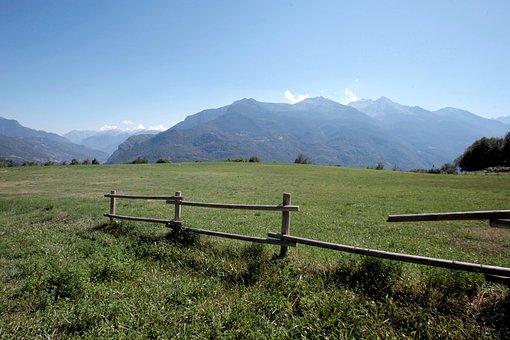Green, Mountain, Sky, Blue, Clouds, Prato, Idyllic
