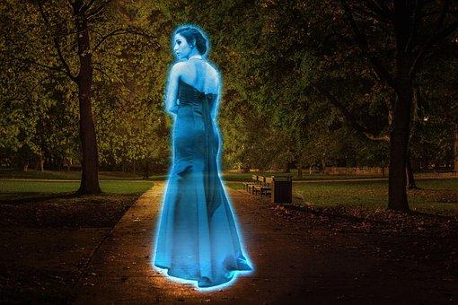 Ghost, Hologram, Light, Illuminated, Iridescent, Female