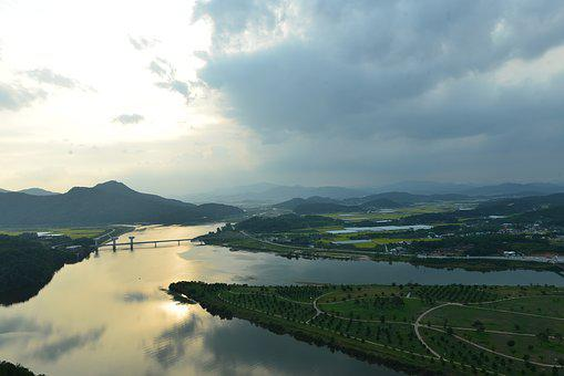Landscape, River, In The Evening, If Thousand Island
