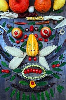 Vegetables, Autumn, Mood, Zöldségarc, Color, Decoration