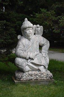 Sculpture, Asian, Sitting, Falcon, Novosibirsk