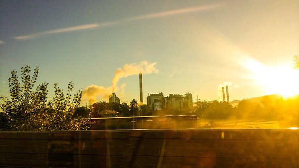 Power Plant, Smoke, Sunrise, Morning, Nature, Steam