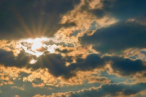 Clouds, Sun, Mood, Dramatic, Sunset, Landscape, Red