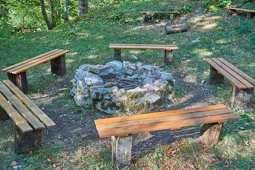 Lagerfeur, Benches, Adventure, Landscape, Scenic