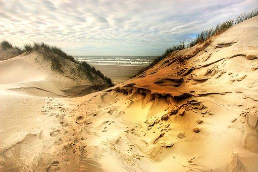 Dunes, Beach, Sea, Nature, Clouds, Sand, Landscape