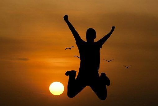 Youth, Active, Jump, Happy, Sunrise, Silhouettes, Man