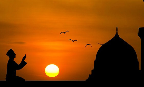Islamic, Prayer, Dusk, Sun, Man, Bird, Holy, Faith, Sky