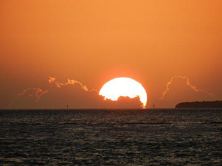Sunset, Key West, Silver Lining, Red Sky, Abendstimmung