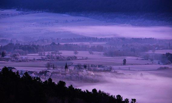 Landscape, Village, Mist, Aurora, Val De Ruz