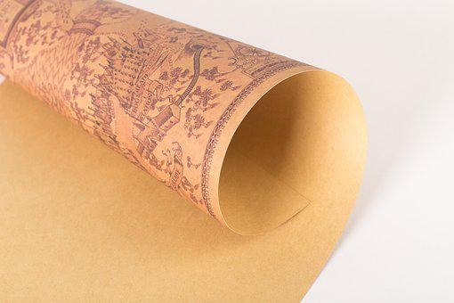 Kraft, Volume, Yellow, Vintage Map
