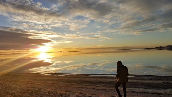 Sunset, Walking, Beach, Alone, Learning, Man, Thinking