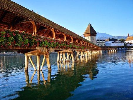Lucerne, Kappel Bridge, Autumn, Sunrise, Morning, Water