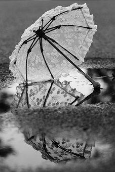Umbrella, Puddle, Water