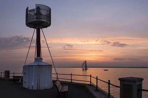 Lighthouse, Sunset, Yacht, Evening, Sea, Sky, Clouds