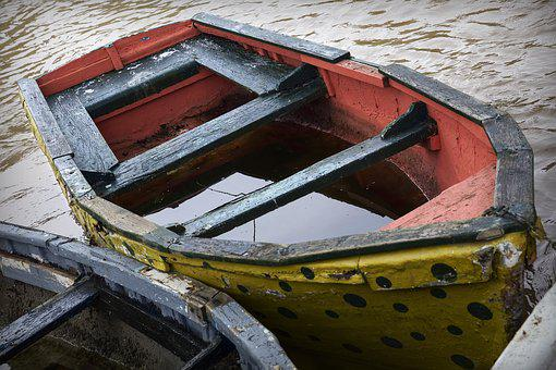 Barca, Sunken Ship, Water, Sea, Abandoned, Wood