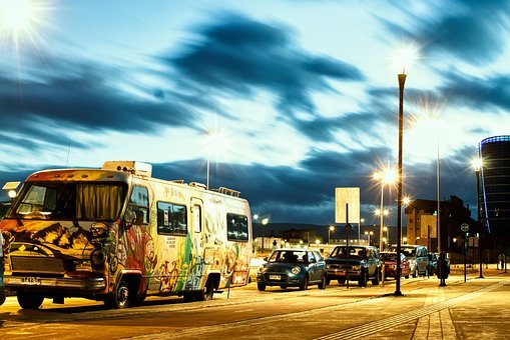 Bus, Parking, Night, Cars, Long Exposure, Transport