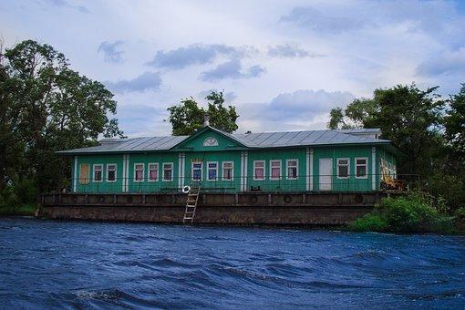 Cottage, Lake, Sky, Trees, Marina, Building