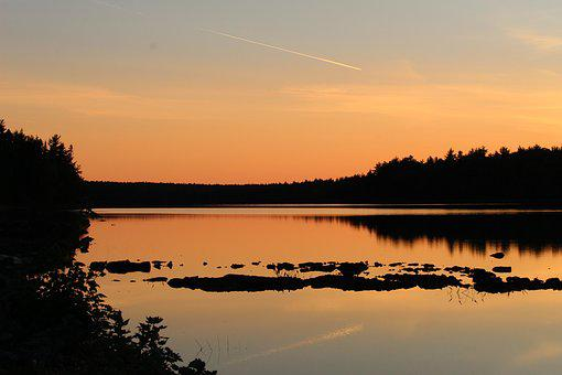 Dusk, Mirroring, Afterglow, Sunset, Sky, Water, Nature