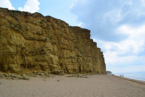 Orange, Coast, England, Wall, Clouds, Blue, Beach