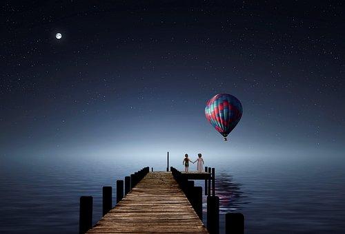 Evening, Sea, Star Sky, Zeppelin, Love, Pair, Children
