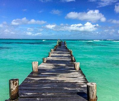 Mexico, Beach, Ocean, Bridge, Landscape, Holidays
