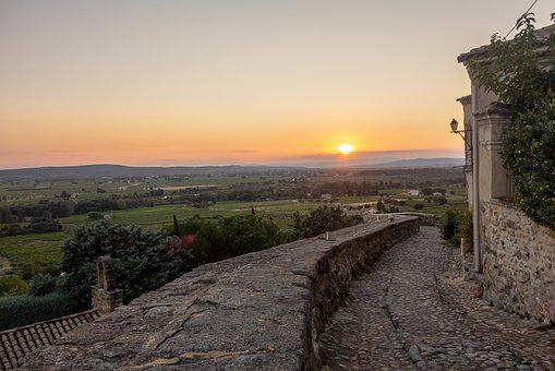 Village, France, South, Cairanne, Sunset, Landscape