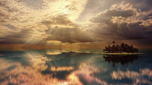 Sunset, Ocean, Island, Sea, Water, Sky, Landscape