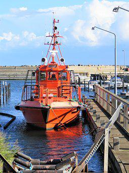 Port, Boat, Ship, Powerboat, Lifeboat, Red, Denmark