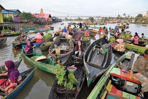 Floating, Market, Shopping, Kalimantan, Banjarmasin