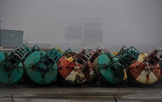 Fog, Port, Boat, Buoy, Metal, Rusty, Sea, Departure