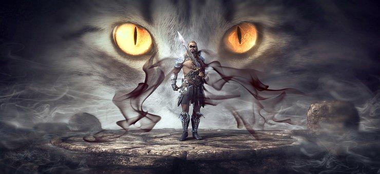 Fantasy, Warrior, Mystical, Eyes, Smoke, Gloomy, Man