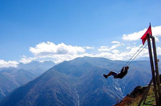 Swing, Alps, Nature, Highland, Green, Blue, Sky, Ayder
