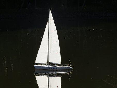 Sailing Boat, Model Boat, Lake, Pond, Contrast