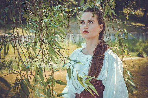 Girl, The Middle Ages, Willow, Branch, Portrait