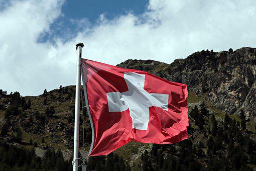 Flag, Switzerland, Mountain, Forest Trees, Red, White