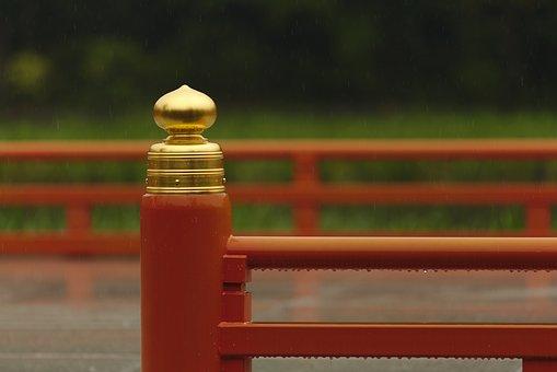 Japan, Shrine, Red, Gold, Rain, Temple