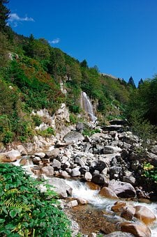 Streaming, Waterfall, Nature, Highland, Green, Forest