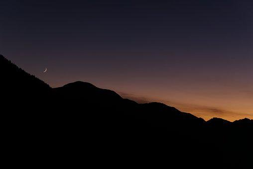 Sunset, Moon, Moonset, Sterzing, Ritzail, Italy