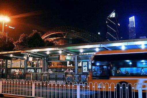 City, Traffic, Bus, Contrasting Colors, Automotive