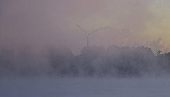 Sunrise, Fog, Landscape, Nature, Haze, Trees, Autumn