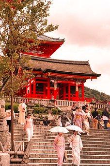 Sightsee, Kyoto, Japan, Kimono, Temple, Walking