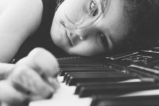 Piano, Girl, Play, Tutorial, White And Black, Music