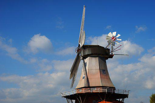 Mill, Dutch, Windmill, Sky, Clouds, Landscape, Wing