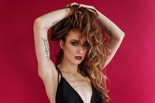 Girl, Woman, Young, Beautiful, Makeup, Hair, Person