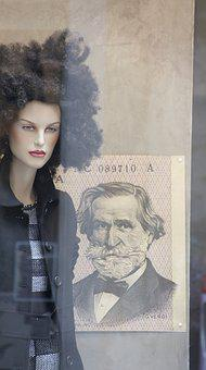 Mannequin, Woman, Wig, Money, The Greenback