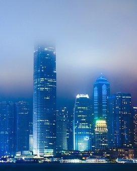 Hong Kong, Cyberpunk, Asia, Travel, Night, Architecture
