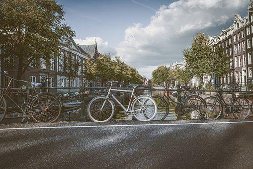 Bicycles, Clouds, Amsterdam, Water, City, Netherlands