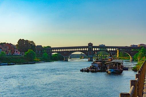 Pavia, Covered Bridge Of Pavia, Bridge Of Pavia, Bridge