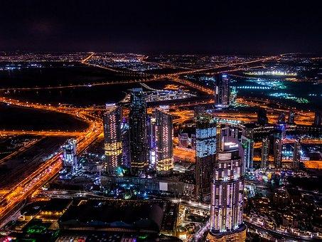 Dubai, City, Night, Architecture, Building