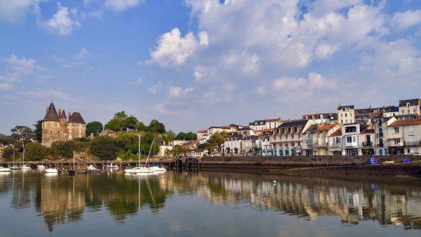 Village, Port, Castle, House, Pier, Dam, Pornic, France